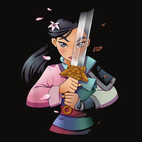 Disney Mulan Anime Half Girl Half Warrior Graphic T Shirt