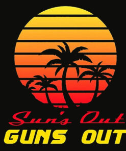 GunShowTees Men's Sun's Out Guns Out Retro 80s