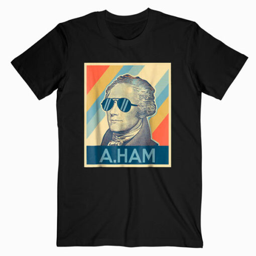 Hamilton tshirt wearing sunglasses