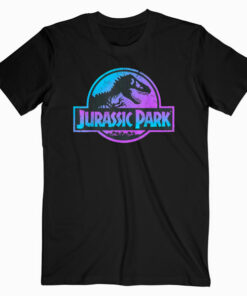 Jurassic Park Blue and Purple Fossil Logo Graphic T Shirt