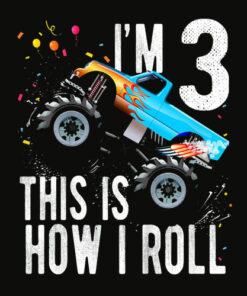 Kids 3 Year Old Shirt 3rd Birthday Boy Monster Truck Car T Shirt