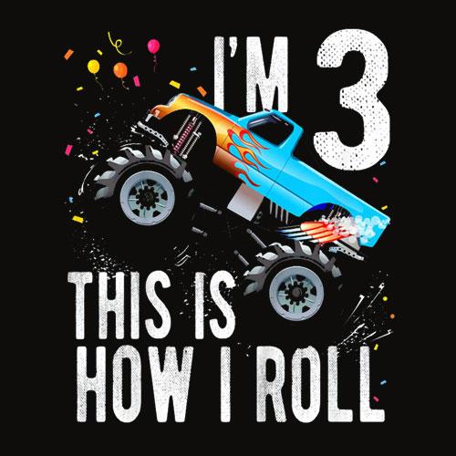 Kids 3 Year Old Shirt 3rd Birthday Boy Monster Truck Car T Shirt