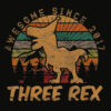 Kids Three Rex 3rd Birthday Gifts Third Dinosaur 3 Year Old T Shirt