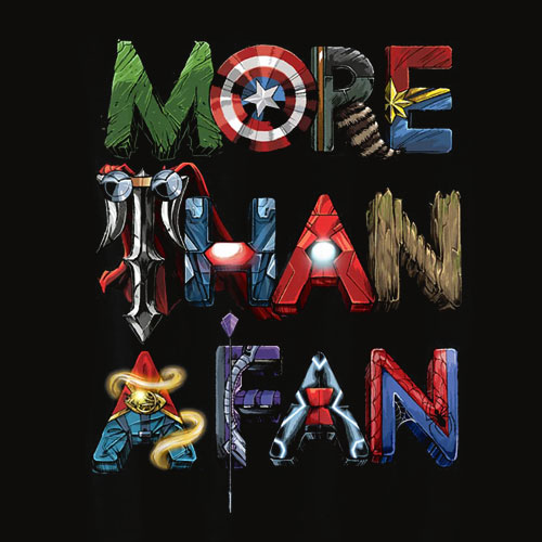 Marvel Avengers More Than A Fan Word Stack T Shirt
