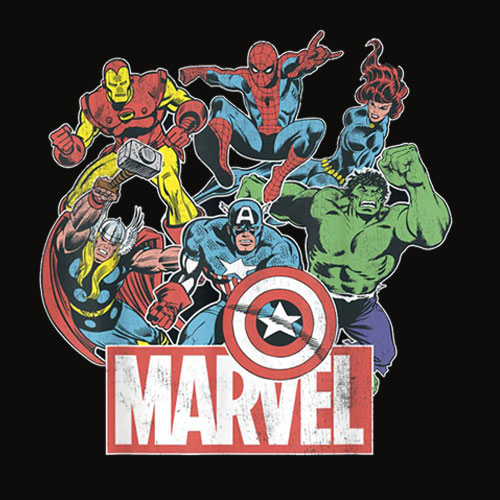 Marvel Avengers Team Retro Comic Vintage Graphic T Shirt