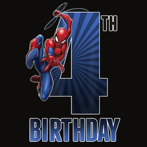 Marvel SpiderMan Swinging 4th Birthday Graphic T Shirt