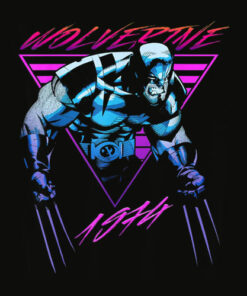 Marvel X Men Wolverine Neon Retro Logan Graphic T Shirt