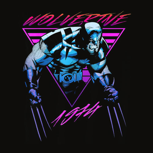 Marvel X Men Wolverine Neon Retro Logan Graphic T Shirt