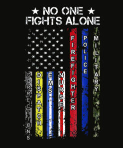 No One Fights Alone USA Flag Thin Line Military Police Nurse dp