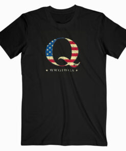QAnon WWG1WGA Q Anon Great Awakening MAGA USA Flag Design T Shirt