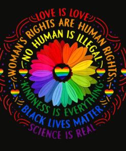 Rainbow Black Lives Matter Science LGBT Pride Flower T Shirts