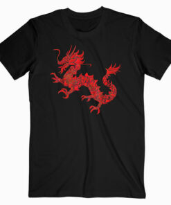 Red Chinese Firedrake T Shirt Dragon Print Art Wear