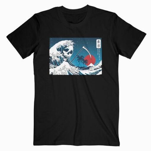 Riot Society Men's Short Sleeve Graphic Night Skull Wave