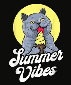 Summer Vibes Ice Cream Cone British Shorthair Cat Lover T Shirt