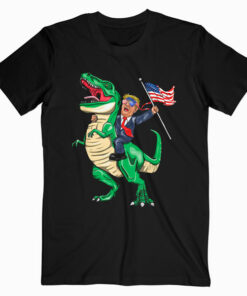 T Rex Dinosaur With Trump American Flag For Patriot T Shirt