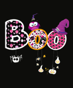 Boo Halloween Costume Spiders Ghosts Pumkin and Witch Hat T Shirt