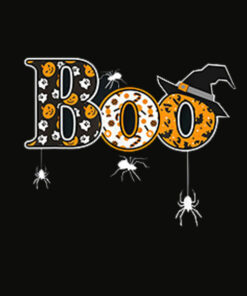 Boo With Spiders And Witch Hat Halloween T Shirt