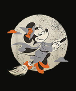 Disney Minnie Mouse Flying Witch Costume Halloween T Shirt