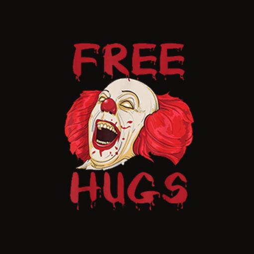 Free Hugs Halloween Evil Killer Scary Clown Horror Gift T Shirt