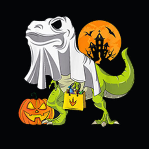 Ghost Dinosaur Funny Halloween T Rex Shirt For Boys Costume T Shirt