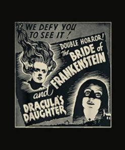 Halloween Monster Poster Horror Movie Dracula Frankenstein T Shirt