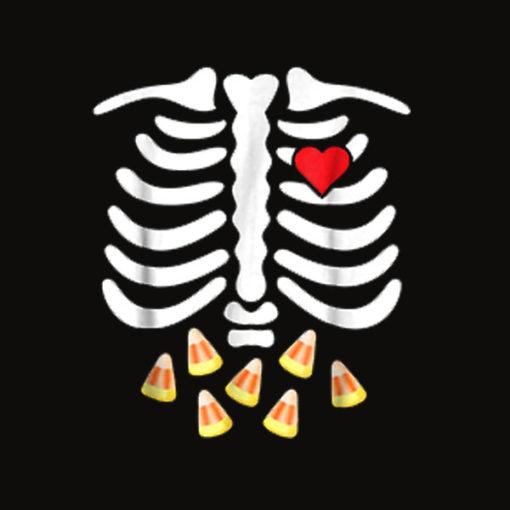 Halloween Skeleton Junk Food Belly Candy Corn T Shirt