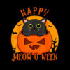 Happy Halloween Meowoween Cute Black Cat Party Costume Gift T Shirt