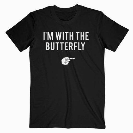 I'm With Butterfly Halloween Costume Party Matching Couples T Shirt