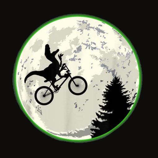 Raptor Moon Dinosaur on a Bike T Shirt