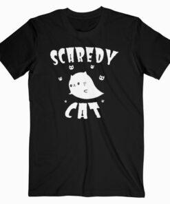 Scaredy Cat Shirt Cute Cartoon Ghost Cat Halloween T Shirt