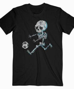 Skeleton Soccer Halloween Boys Girls Kids Men T Shirt