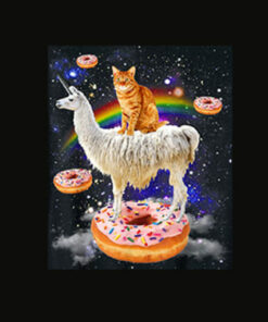 Space Cat Riding Llama and Donuts Galaxy Funny Cat T Shirt