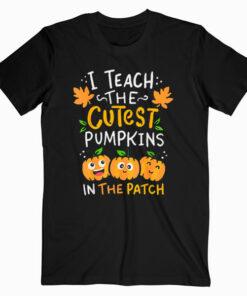 Teacher Halloween Pre K Teacher Kindergarten Cutest Pumpkins T Shirt