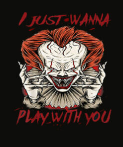 Terrifying Scary Halloween Evil Clown Play With IT T Shirt
