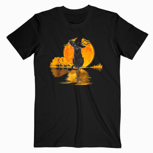 Vintage Halloween Scary Black Cat Witch Hat Moon Witchy Gift T Shirt