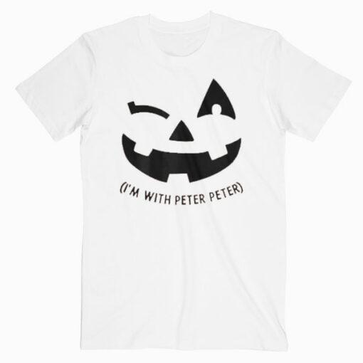 Womens Naughty Im With Peter Wink Pumpkin Matching Couple Halloween T Shirt