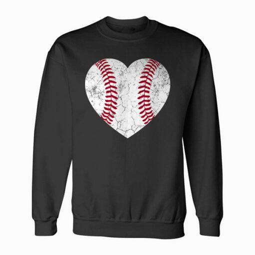 Baseball Heart Fun Mom Dad Men Women Softball Wife Gift Sweatshirt