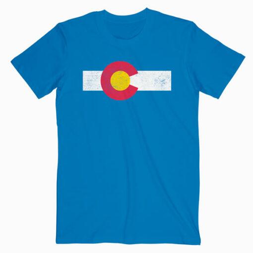 Colorado Flag vintage Distressed T Shirt