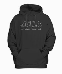 French Inspired Un Deux Trois Cat Funny French Joke Quote Hoodie