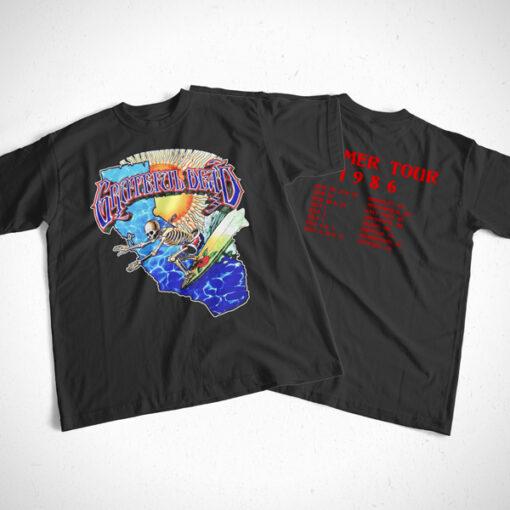 Grateful Dead Surfing Skeleton Vintage 1986 Band T Shirt Front Back Sides