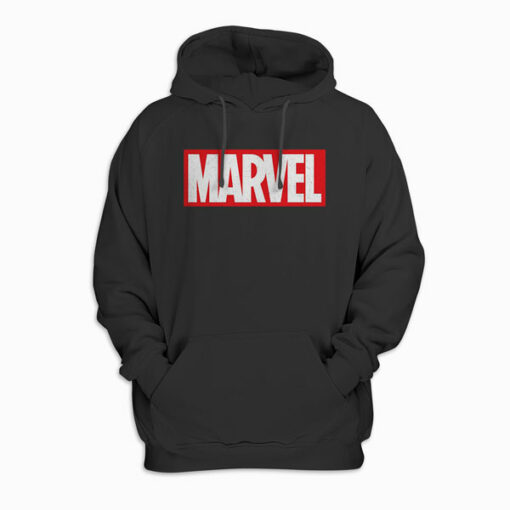 Marvel Classic Distressed Logo Hooded Sweatshirt Pullover Hoodie