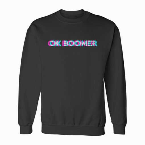 OK Boomer Meme Funny Anaglyph Type Pullover Hoodie