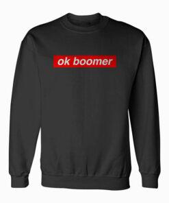 Ok Boomer Red Box Funny Trendy Meme Gen Z Christmas Gift Sweatshirt