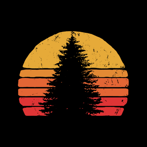 Solitary Pine Tree Sun - Vintage Retro Outdoor Graphic