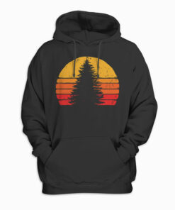 Solitary Pine Tree Sun - Vintage Retro Outdoor Graphic Pullover Hoodie