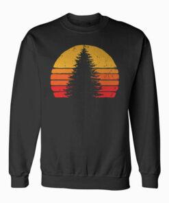 Solitary Pine Tree Sun - Vintage Retro Outdoor Graphic Sweatshirt