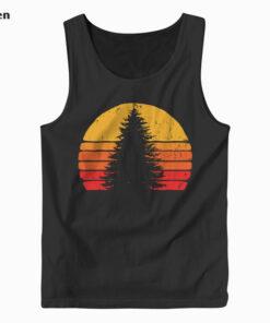 Solitary Pine Tree Sun - Vintage Retro Outdoor Graphic Tank Top