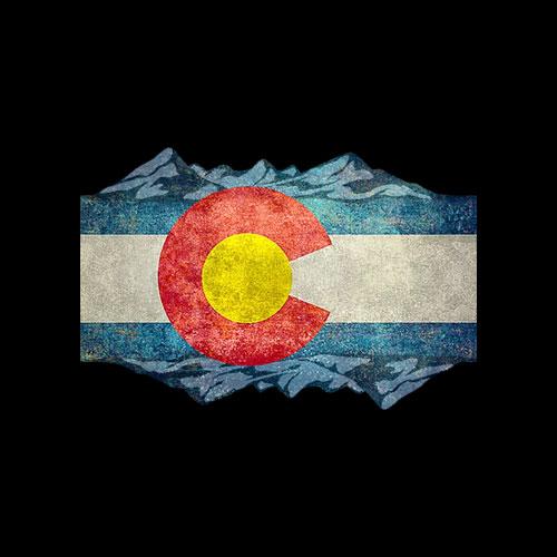 Colorado Flag and Mountains