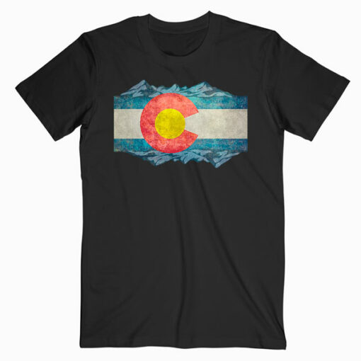Colorado Flag and Mountains T Shirt