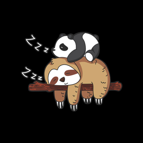 Cute Panda Sleeping on Sloth Lover